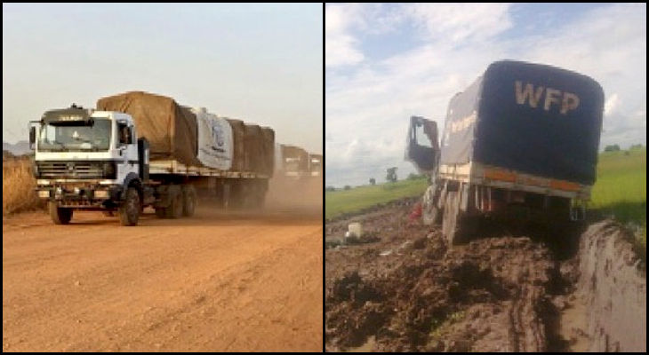 Wet and dry season roads in South Sudan